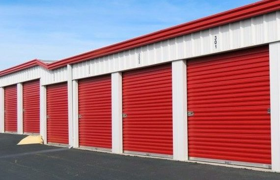 Drive-up outdoor self storage units at Red Rock Self Storage in Midwest City.