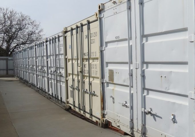 Outdoor storm safe container self storage units at Red Rock Self Storage in Midwest City.